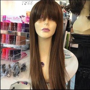 Brown warm honey long bangs wig 2019 hairstyle Wig